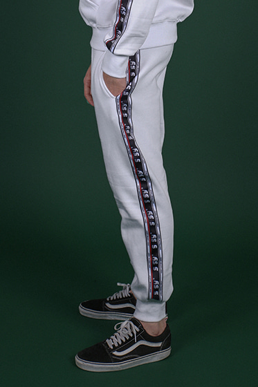 wide tape jogger white