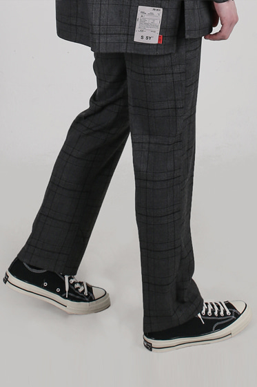 ssy flow wide pants grey check
