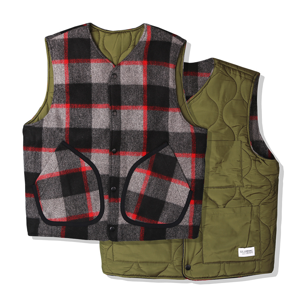 BLOCK WOOL CHECK REVERSIBLE VEST