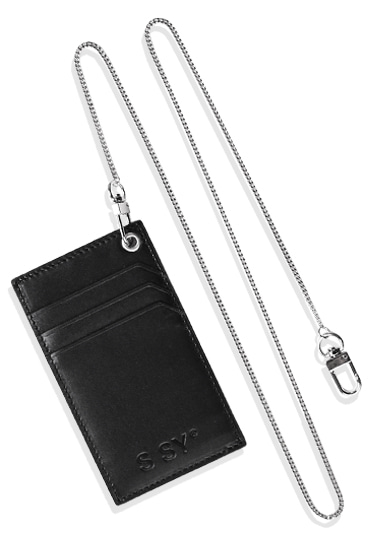 real leather card holder & utility sugical chain