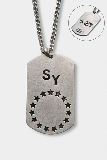 NAMETAG STAR CIRCLE NECKLESS (SILVER BURNISH)