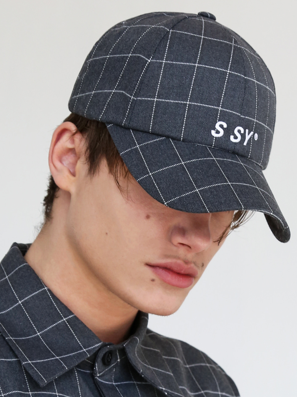 SQUARE CHECK CAP GREY
