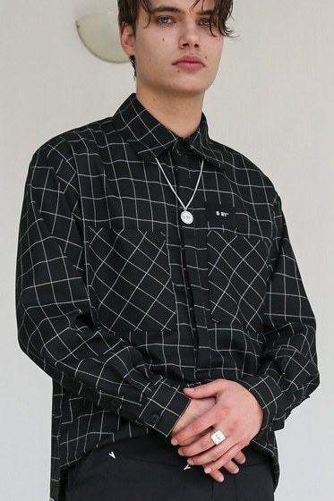 SQUARE CHECK SHIRT BLACK