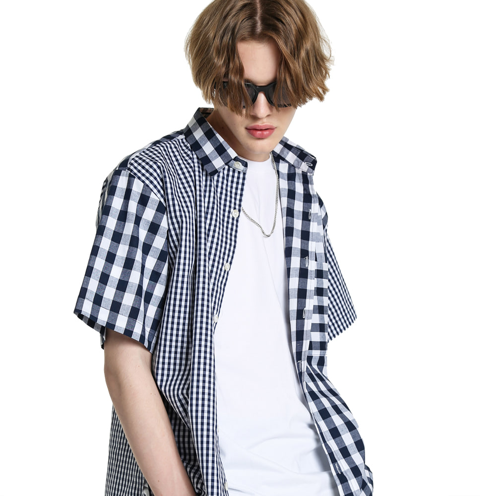 MIXED CHECK COTTON 1/2 SHIRT