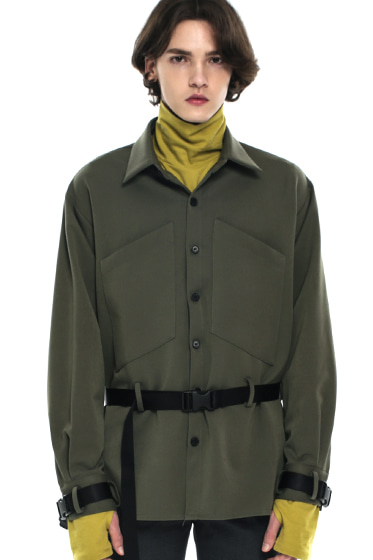 webbing belt transpocket shirt jacket khaki