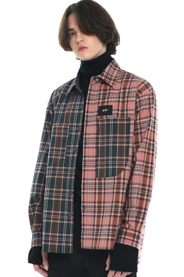 premium check half & half shirt purple