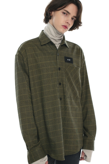 olive green check basic shirt