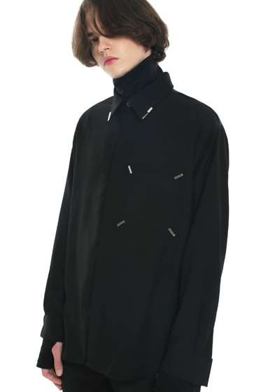 collar & pocket hand work iron tip shirt black