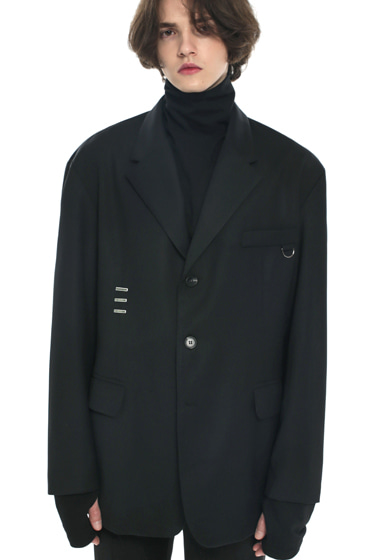 iron tip oversize single blazer black