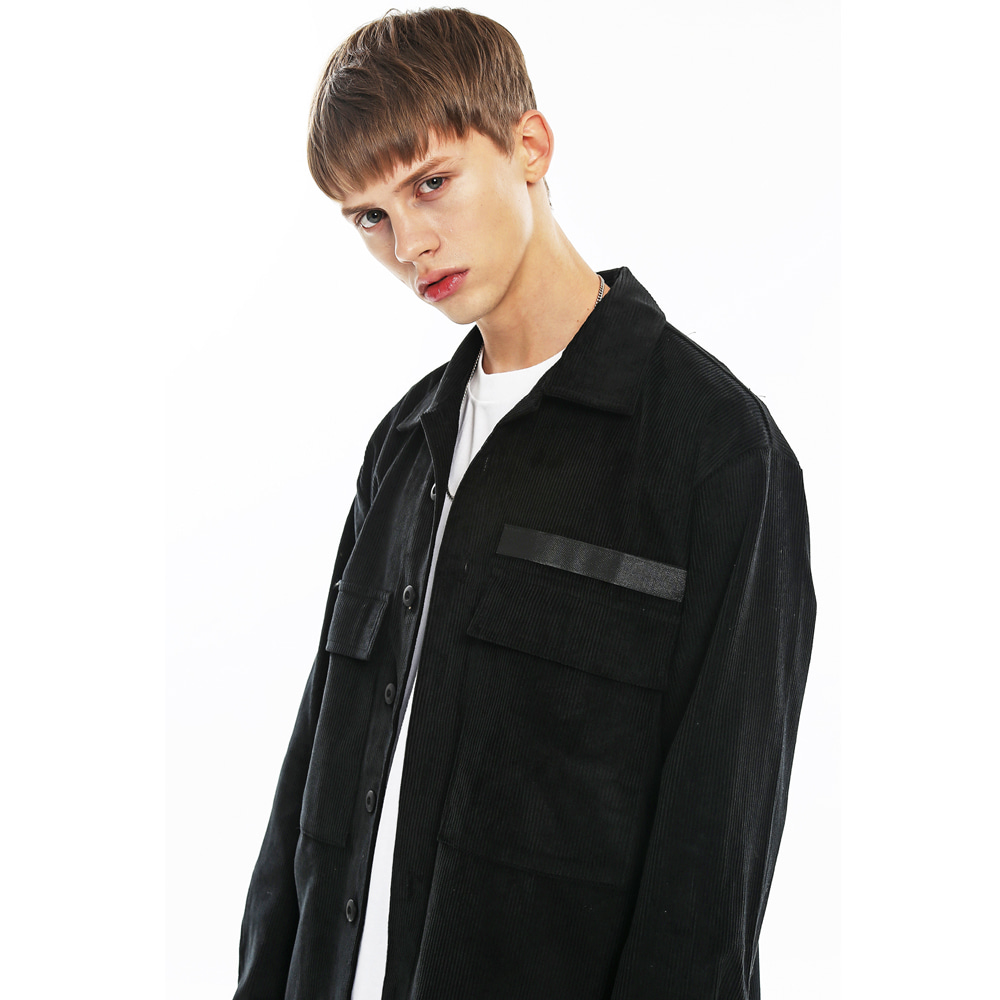 CORDUROY MILITARY SHIRT JACKET-K BK