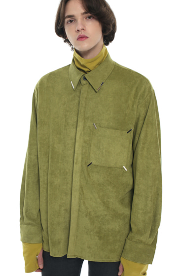 collar & pocket hand work iron tip suede shirt olive green