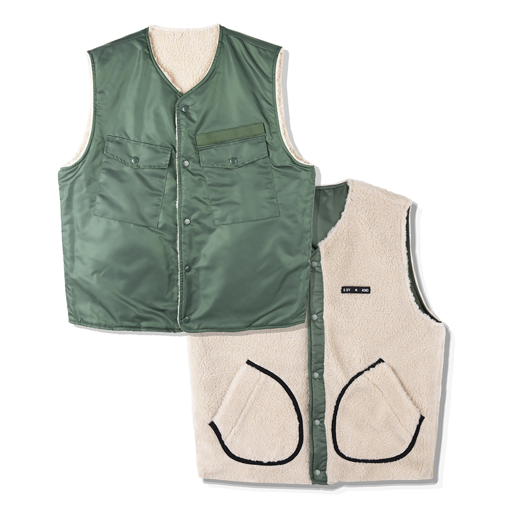 BOA FUR REVERSIBLE MILITARY VEST-K KK