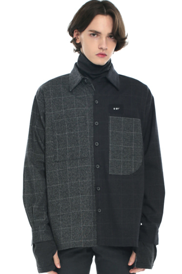premium check half & half shirt dark grey