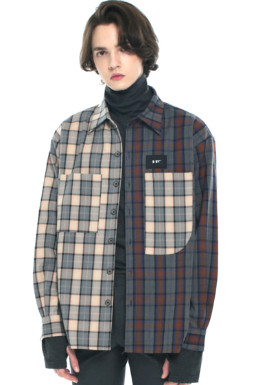 premium check half & half shirt light grey