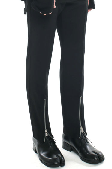 ankle front zipper slim slacks black