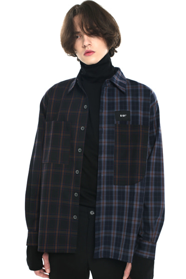 premium check half & half shirt dark navy