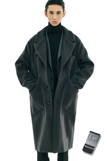 overfit heavy plate wool single coat grey