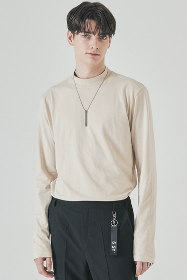 half neck long sleeve beige