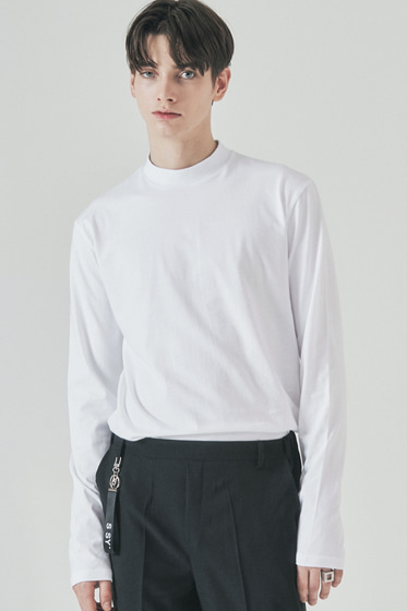 half neck long sleeve white