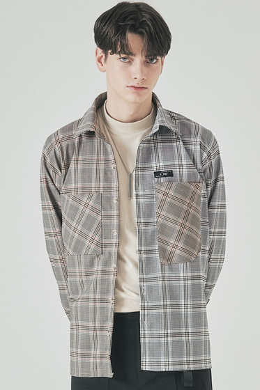 half & half shirt 20ss glen grey