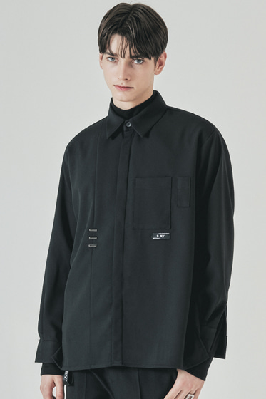 double pocket side tip shirt black
