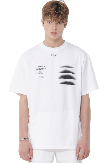algorism graph t-shirt white