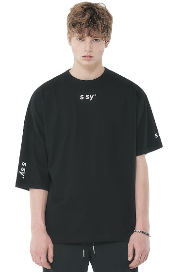 half loose unblance t-shirt black