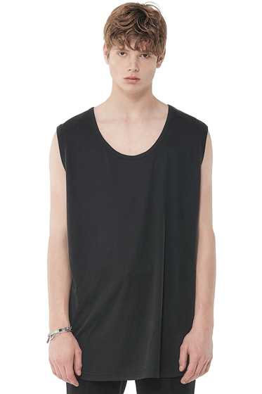 modal lengthy sleeveless t-shirt black