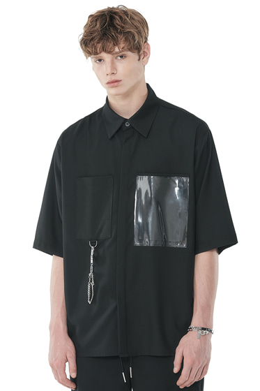 urethane layered pocket half shirt black