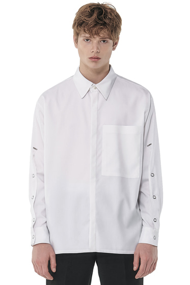 sleeve open iron button shirt white