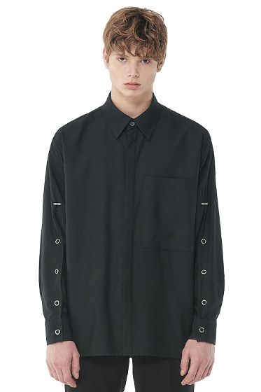 sleeve open iron button shirt black