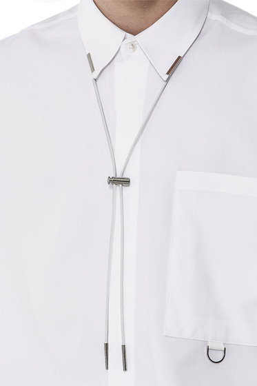 elastin tip necklace white