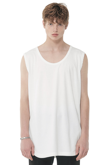 modal lengthy sleeveless t-shirt white