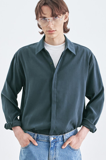 SUPREME TOUCH RELAXED FIT SHIRT BLUE CHARCOAL